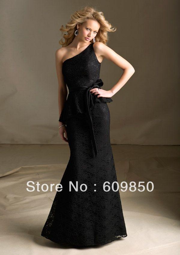 Custom-made One shoulder A-line Floor-length  Satin  Bridesmaid Dresses $121.50