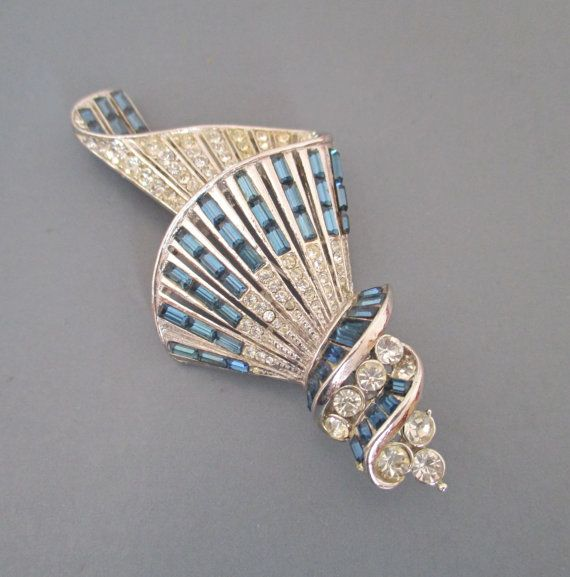 Art Deco Style Spiral Brooch 1950s Blue Baguette by SheWhoSparkles
