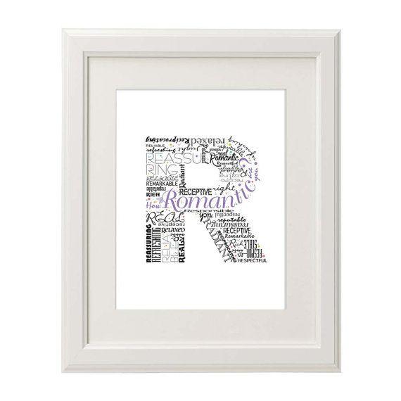 Positive Words Start With Letter R Alphabet R Monogram Letter Typography Art Printable Poster
