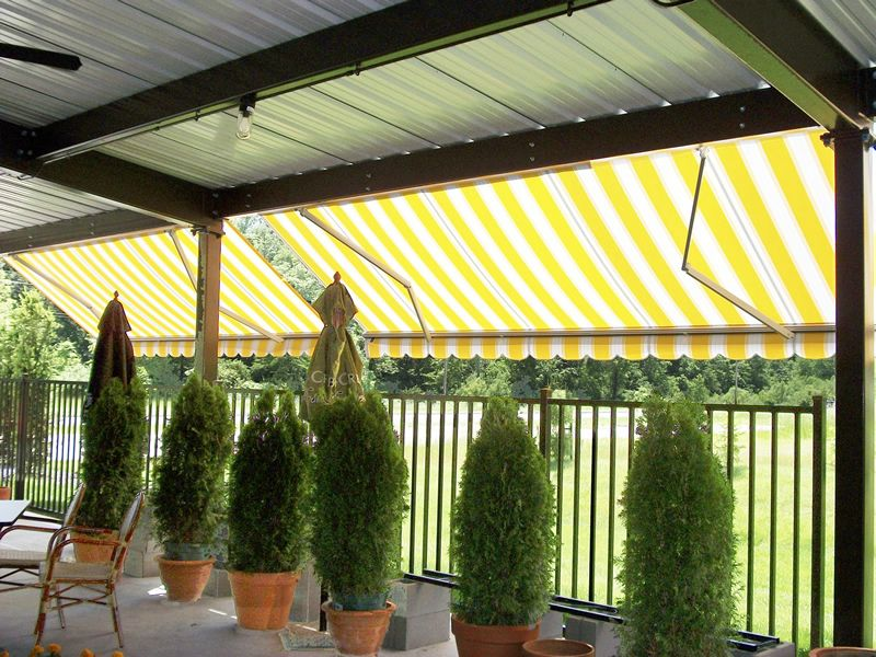 Yellow Striped Eko Retractable Awnings With Scalloped Valances Mounts On Wall Roof Or Soffits Fabric Awning Beach Fabric Saint Paris