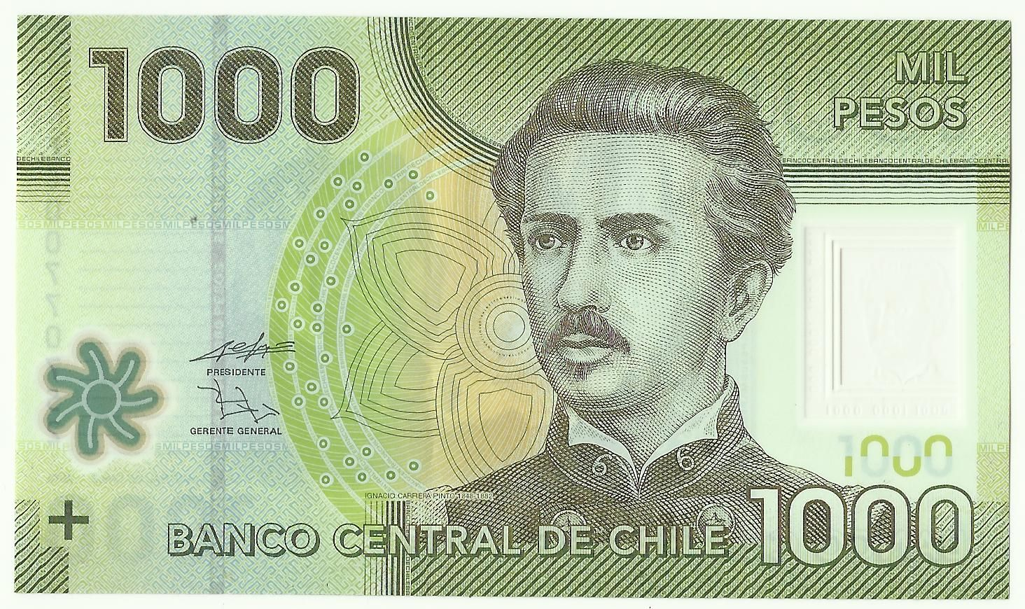 Polymer Banknotes Of Chile 1000 Pesos Banknotes Money Bank Notes Male Sketch