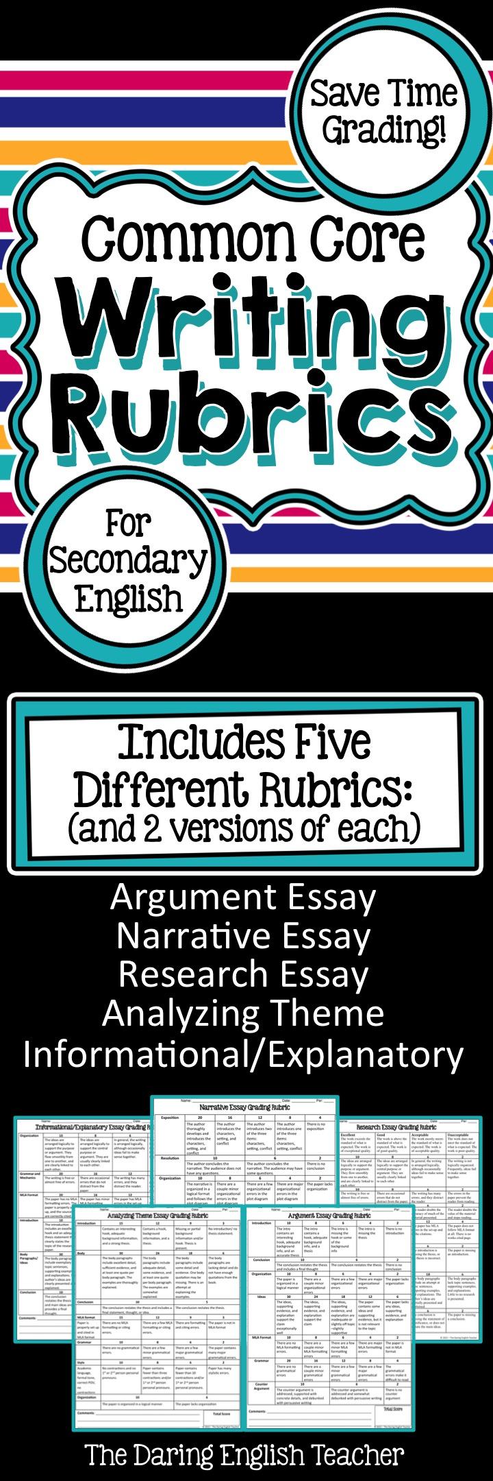 0011 Writing Rubrics Packet for secondary English Teaching