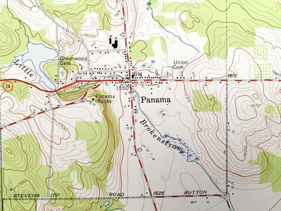 Topographic Map Of Panama.Antique Panama New York 1954 Us Geological Survey Topographic Map