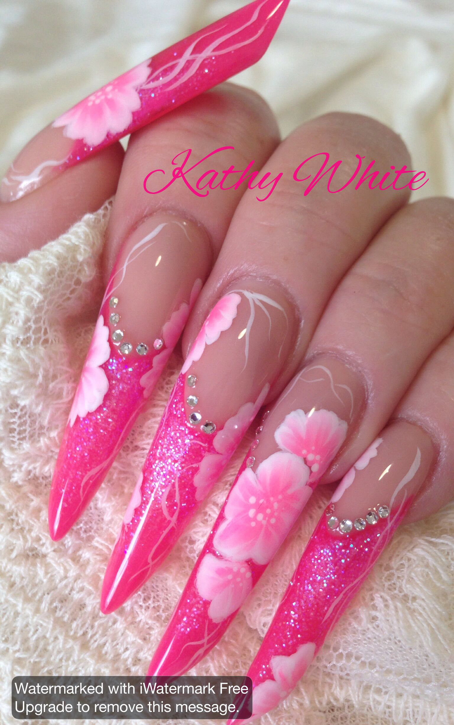 Long Acrylic Russian almond nails| pipe nails | stiletto nails with ...