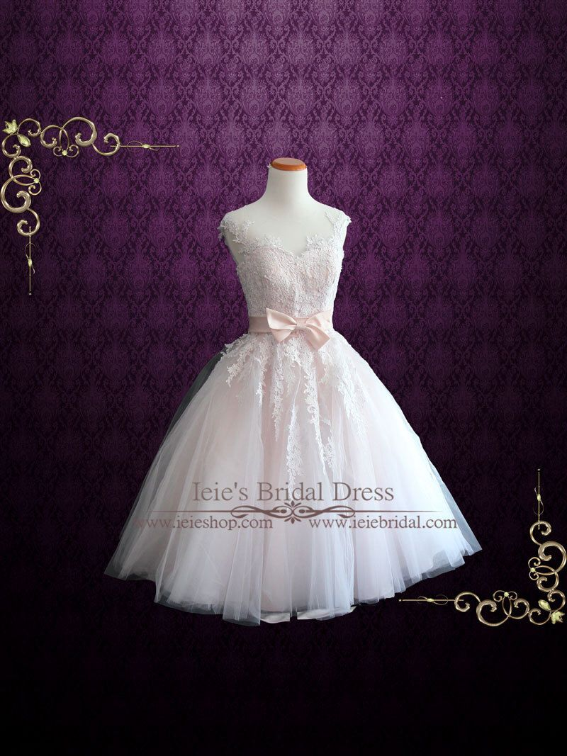 Pearl pink retro tea length wedding dress prom dress formal dress