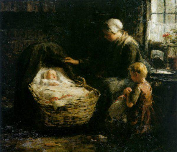 Evert Pieters (1856 - 1932, Dutch)   Family painting, Baby ...