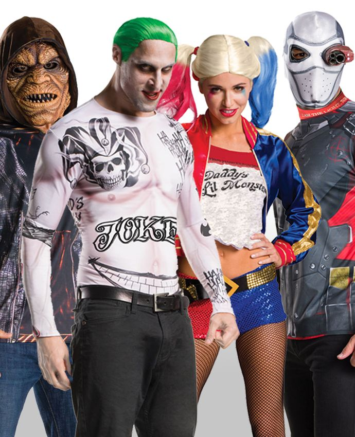 Looking for a good Halloween group costume idea? Or maybe just for a fancy dress party? Dress up in this Suicide Squad group costume with our official Harley Quinn costume, Killer Croc, the Joker and Deadshot!