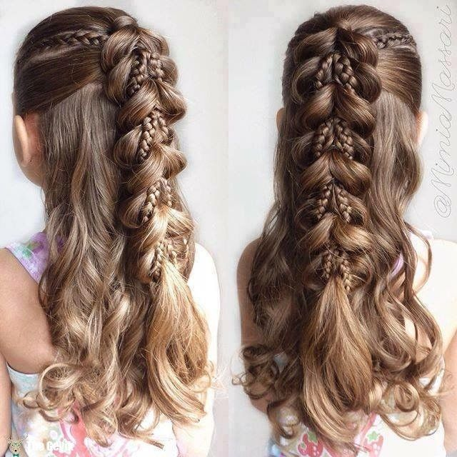 Fancy Little Girl Hairstyle With Braids Little Girl Braid Hairstyles Cute Braided Hairstyles Girls Hairstyles Braids