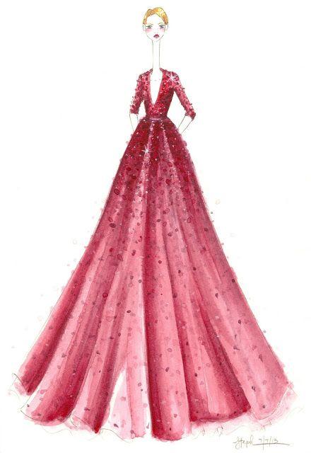 Low necked floor length medium bodied deep pinky red three quarter length sleeved dress