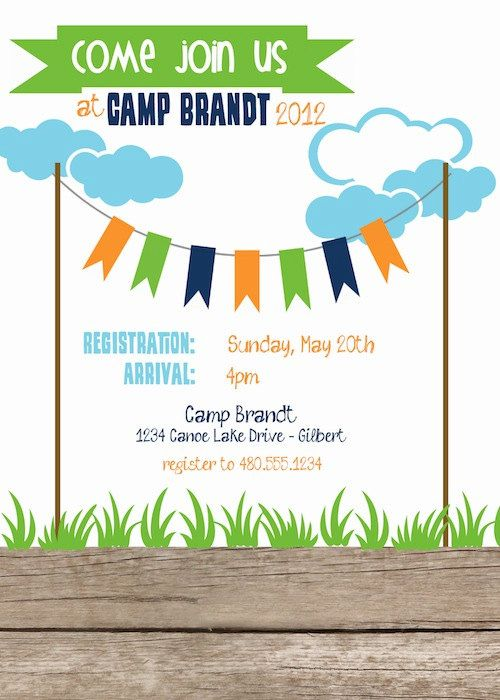 Summer Camp Birthday Party Printable Digital by FreshChickDesigns - fresh anniversary invitation font