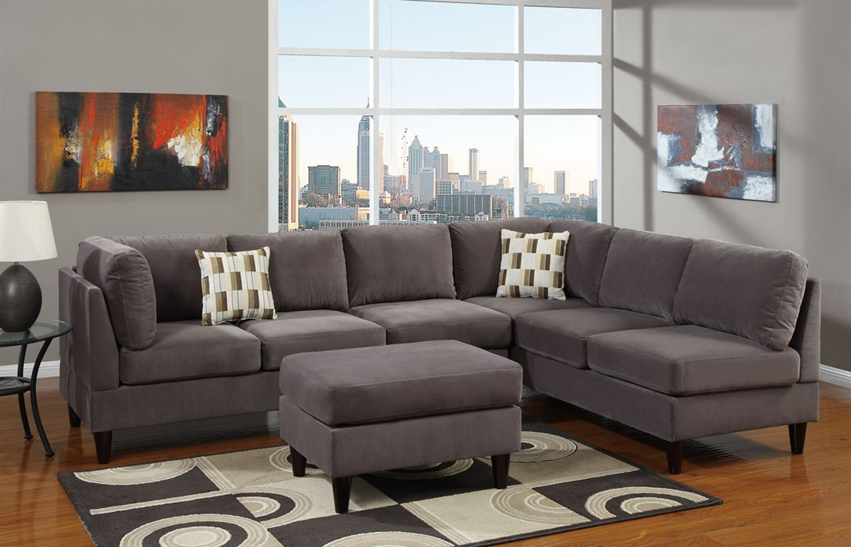 Modern Living Room Area With Grey Suede L Shaped Sectional Living