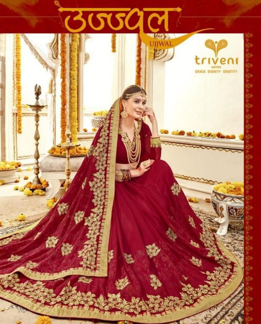 d4cb7a1181c Triveni Ujjval Designer Heavy Embroidered Fancy Fabric Red Sarees  Collection at Wholesale Rate