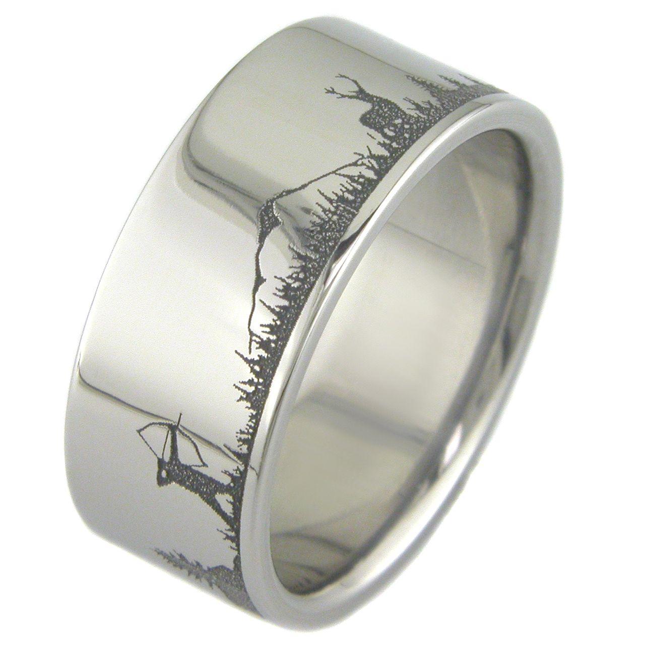 Men S Laser Carved Titanium Fishing And Deer Hunting Wedding Ring Hunting Wedding Rings Hunting Wedding Mens Wedding Rings