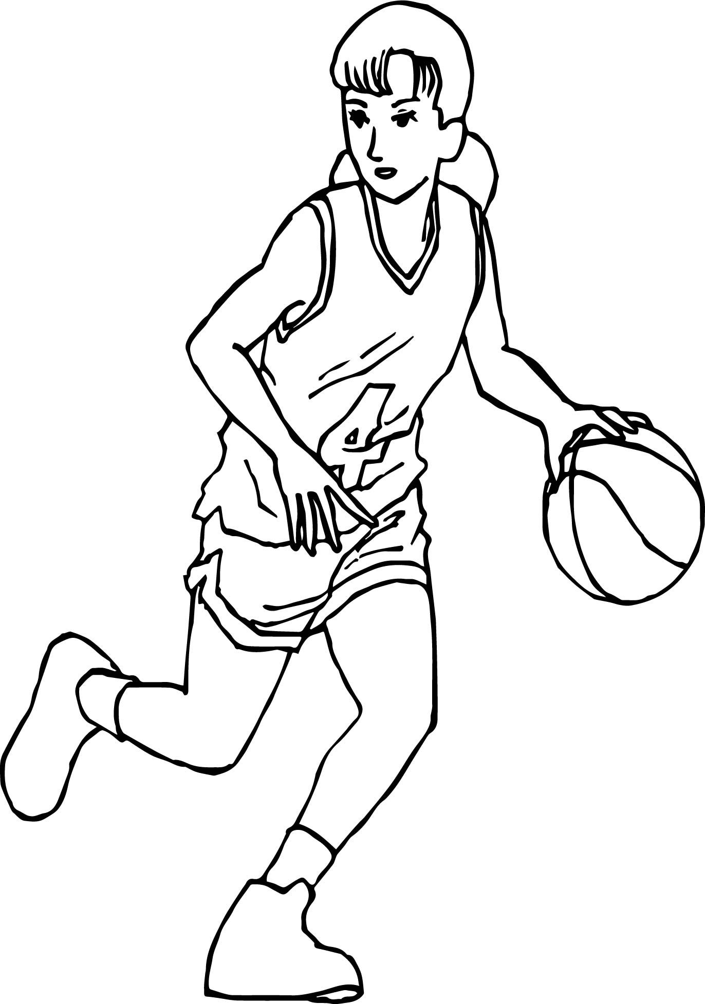 Nice Good Manga Girl Playing Basketball Coloring Page Manga Girl