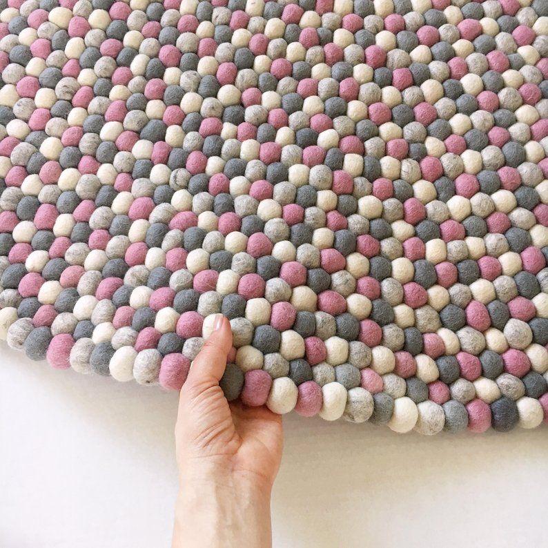 Felt ball rug Kids area - Pink and gray nursery carpet ...