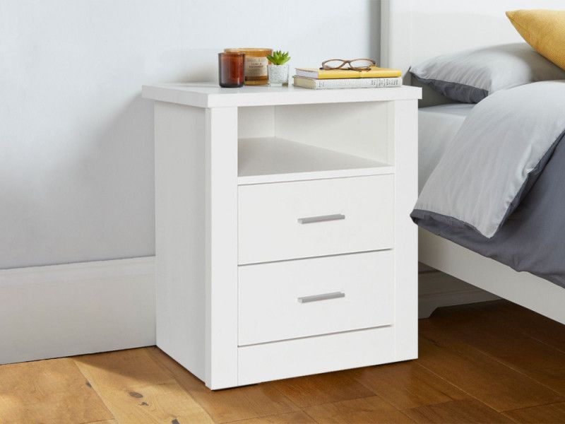 Mateo Wooden Bedside Table With 2 Drawer White Wooden Bedside Table Bedside Table Bedside Table Decor