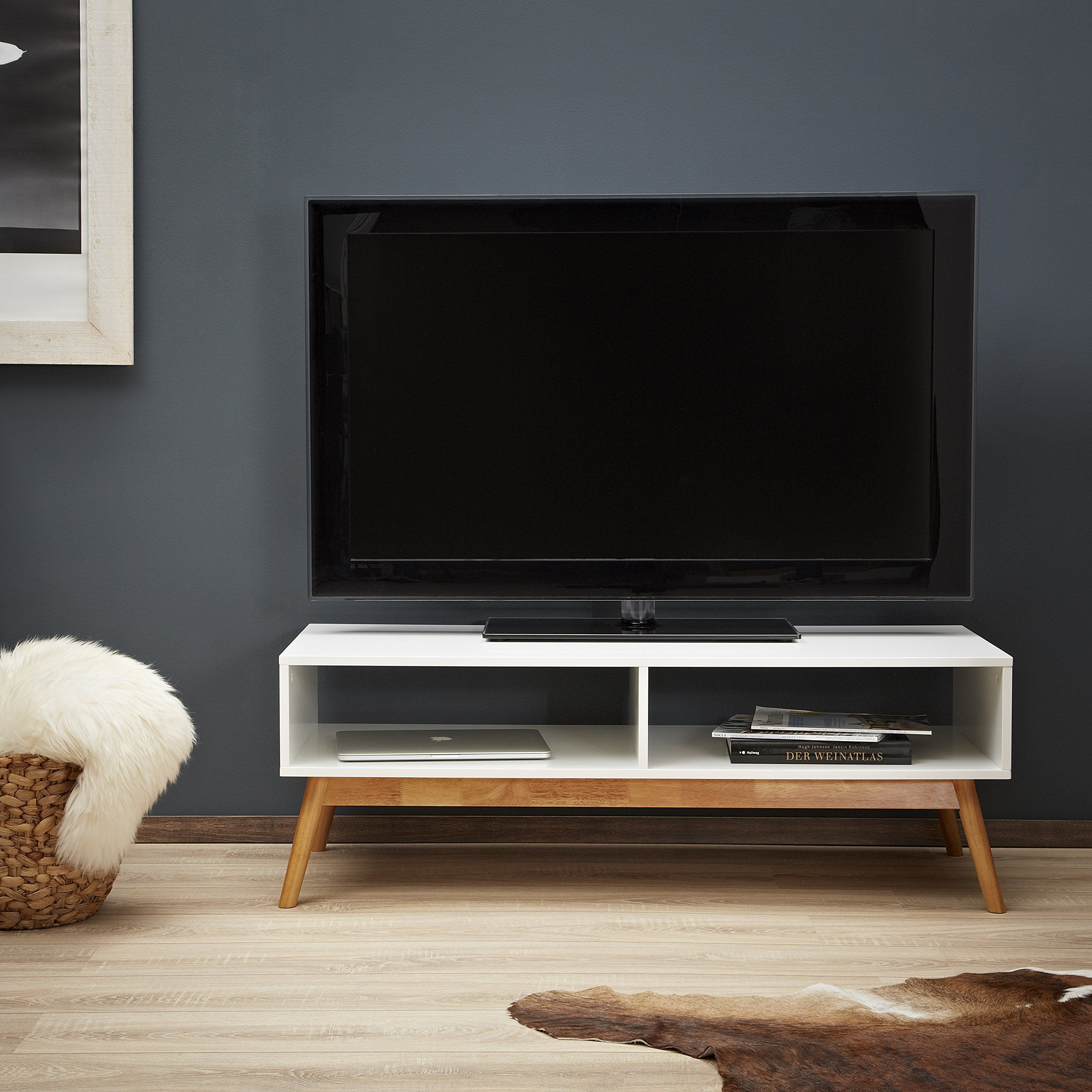 Lomos No 12 Tv Lowboard Made Of Wood In White With Two Drawers  # Meuble Tv Ultra Compact