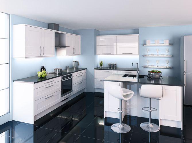 cuisine #carrelage #sombre #tabouret #blanc Home salon, living and