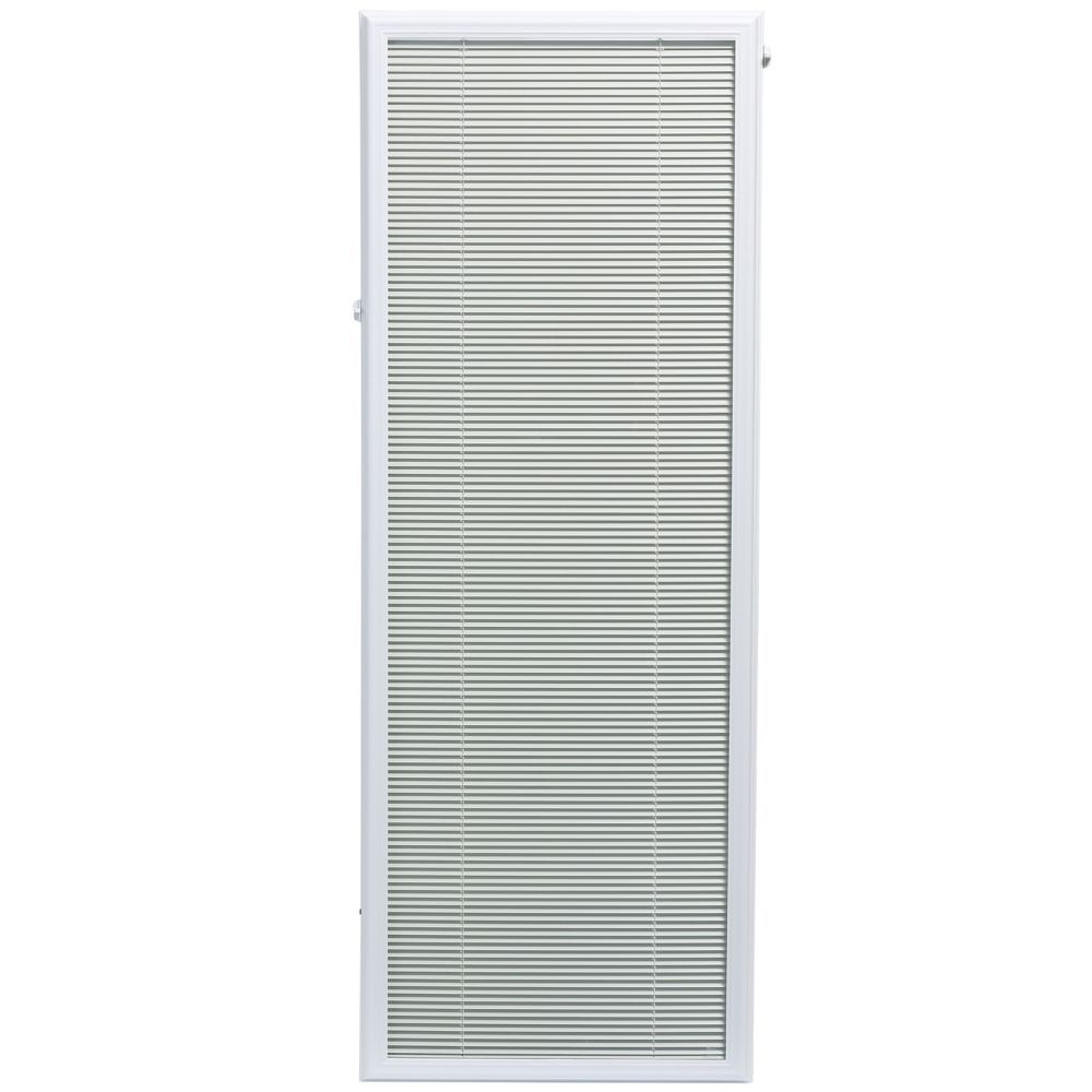 22 Inch X 64 Inch White Aluminum Add On Blind For Full View Doors Light Filtering Blinds French Doors Interior Blinds
