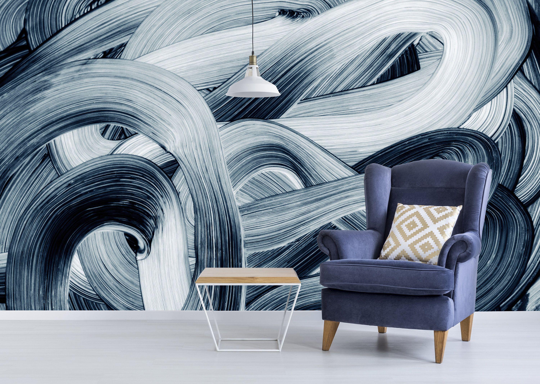 Dark Monochrome Brush Strokes Design Wallpaper Self Adhesive Etsy Wallpaper Classic Wallpaper Pattern Abstract Wallpaper