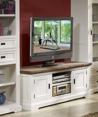 ensemble meuble tv bibliothque et vitrine en acacia massif coloris blanc et havana - Meuble Tv Bois Massif Blanc