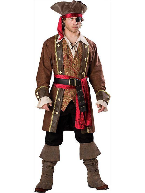 Deluxe Captain Skullduggery Pirate Mens Halloween Costume - 4 man halloween costume ideas