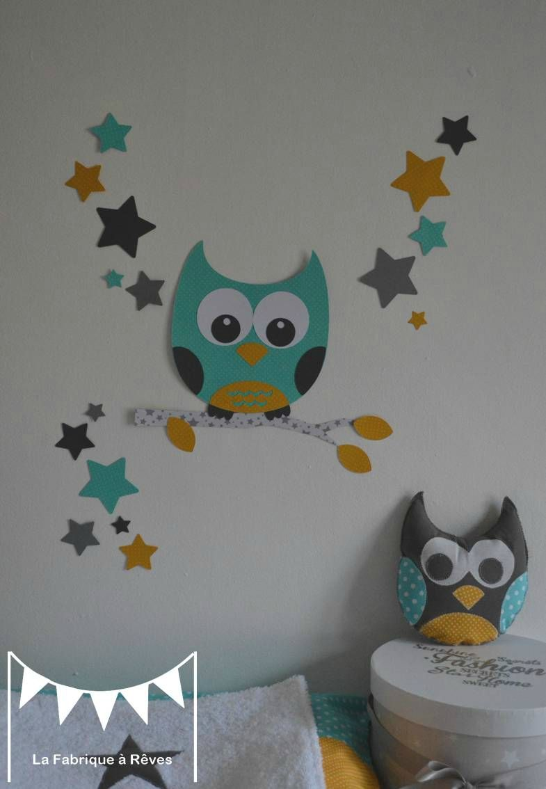 stickers hibou chouette toiles turquoise jaune moutarde gris blanc d coration chambre mixte. Black Bedroom Furniture Sets. Home Design Ideas