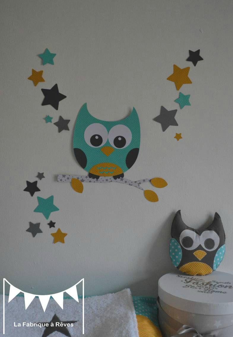 Stickers hibou chouette toiles turquoise jaune moutarde gris blanc d coration chambre mixte - Deco chambre enfant mixte ...