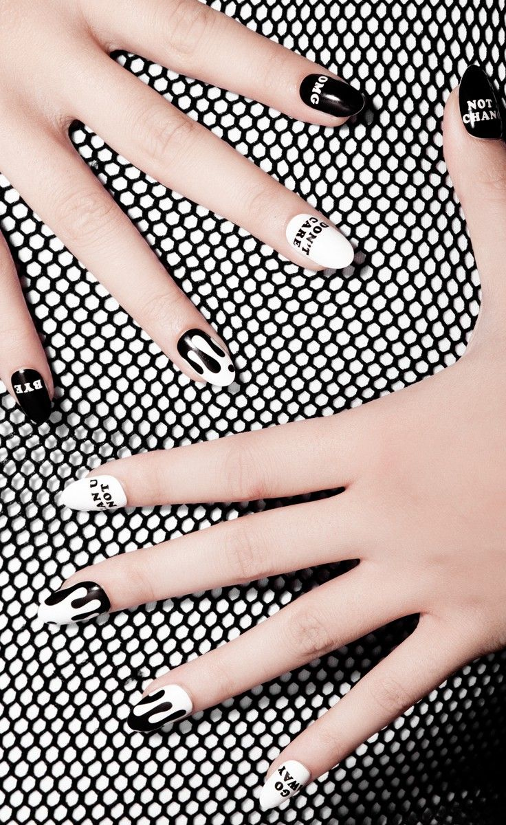 60 Examples of Black and White Nail Art | White nail art, White ...