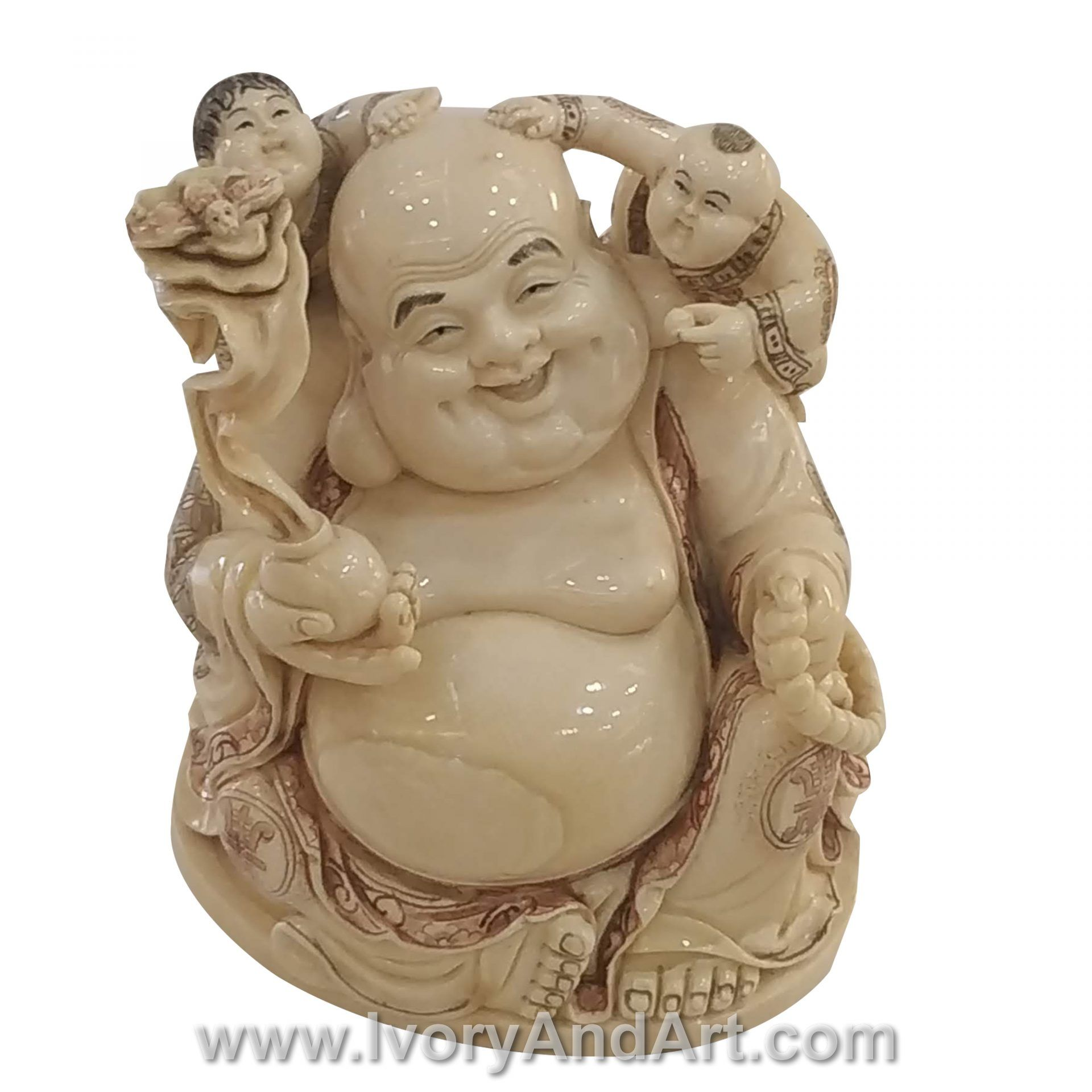 Mammoth Ivory Carvings Of Laughing Buddha Playing with Two