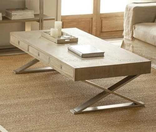 Mesa de living con cajones y patas de acero inoxidable - Mesas con cajones ...