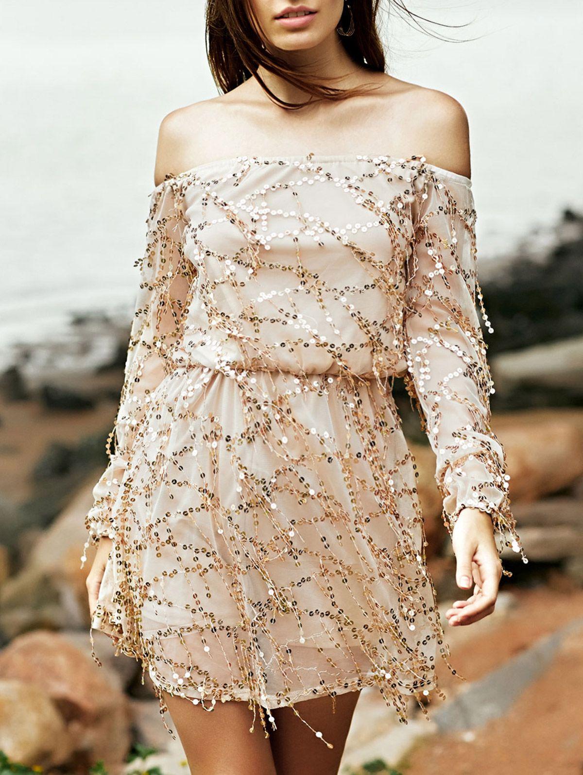 Sequins off the shoulder long sleeve dress sleeved dress sequins