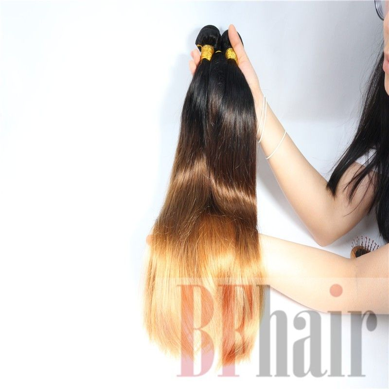 Ombre Hair Extensions Three Tone 1B/4/27 Brazilian Virgin