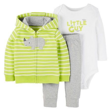 38698fe38835 Baby Boys  3 Piece Cardigan Set Rhino Lime Stripe - Just One You™ Made by  Carter s®   Target