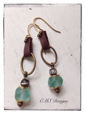 Pale Green Recycled Glass Carved Bone Leather and Brass Boho Earrings from CMS  Pale Green Recycled Glass Carved Bone Leather and Brass Boho Earrings from CMS Designs Thi...