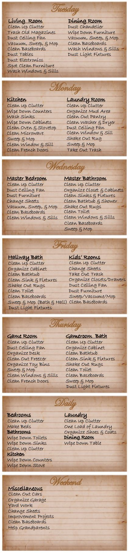 Printable House Cleaning Schedule House cleaning schedules - housework schedule