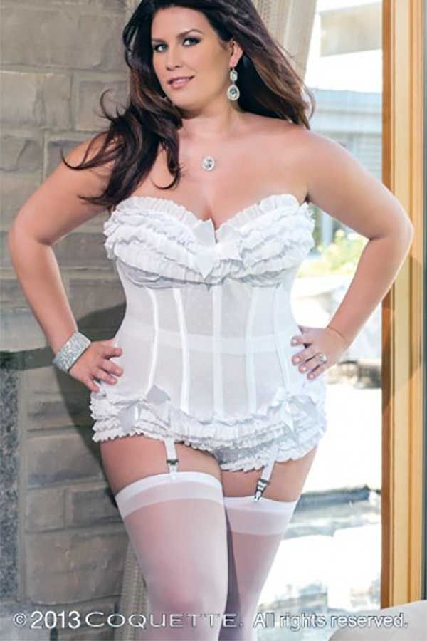 8e38a12b27 Sexy plus size wedding lingerie exists. ruffles and bows