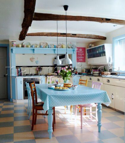 Kitchen In Pastel Blues And Pinks