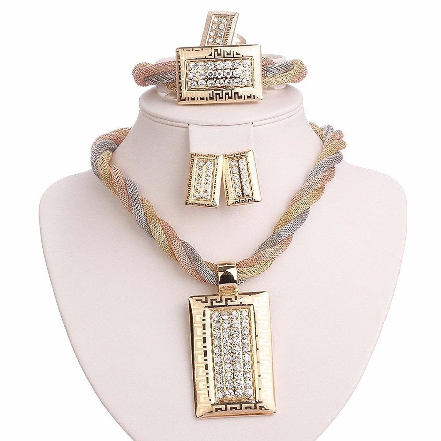 f2d4ab665e Gold Plated 3 Tones Chain Square Pendant Crystal Embedded Necklace ...