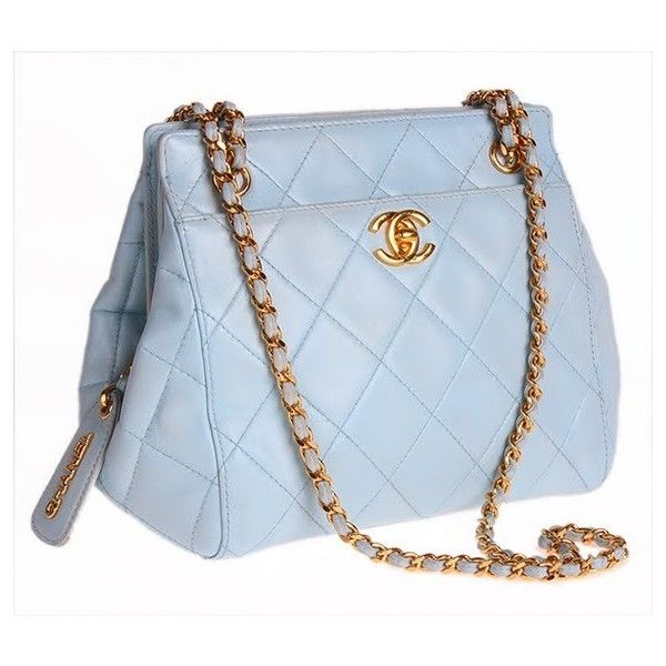 Auth Chanel Vintage Powder Blue Classic Lambskin Bag found on Polyvore