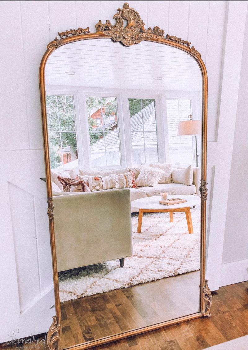 Arhaus Amelie Wooden Arched Mirror Modern Room Home Mirror
