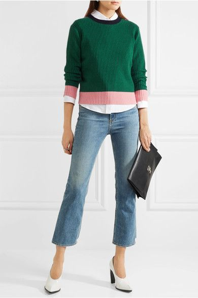 Green, pink and midnight-blue wool and cashmere-blend Slips on 70% wool, 30% cashmere Hand wash