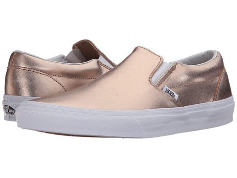 52401e7bd7daa9 Update on the bronze! Vans Classic Slip-On™ (Metallic Leather) Rose Gold -  Zappos.com Free Shipping BOTH Ways