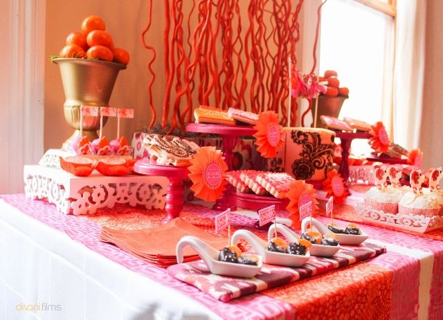 The Vibrant Colors And Patterns Of This Stunning Indian Themed Party Are Truly Breath Taking Mendhi Patterned Cake Cookies Henna Painted Hand