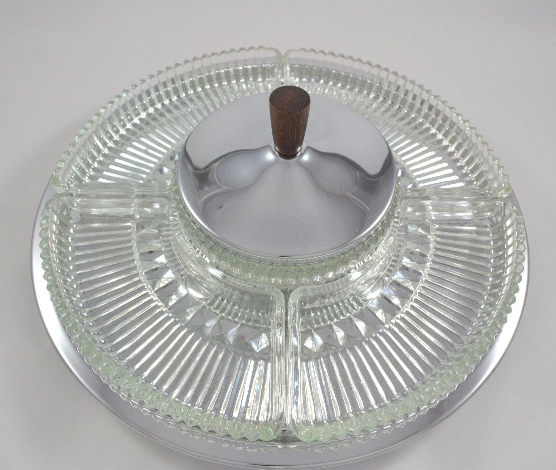 vintage kromex lazy susan nib mid century modern vintage tray platter serving platter party tray snacktray vintage kitchen