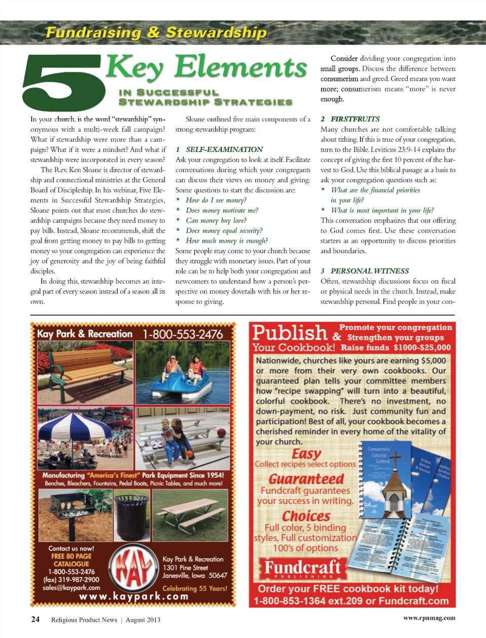 Religious Product News Magazine August   Key Elements In
