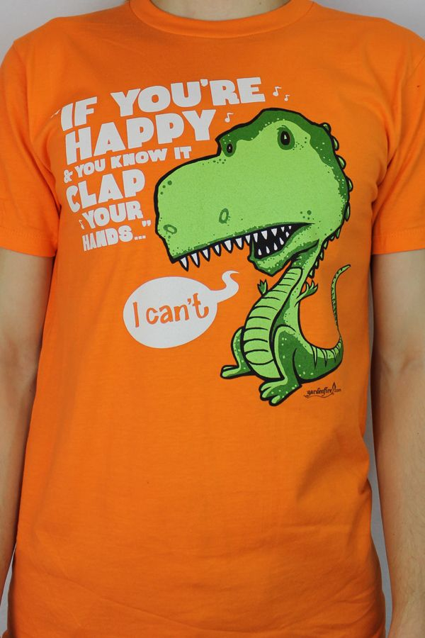 ddb386714 From the Gardenfire Fish Shticks line, T-Rex Clap is a fun and happy design  printed on a bold orange tee. Jesus' promise of eternal life is so  wonderful it ...