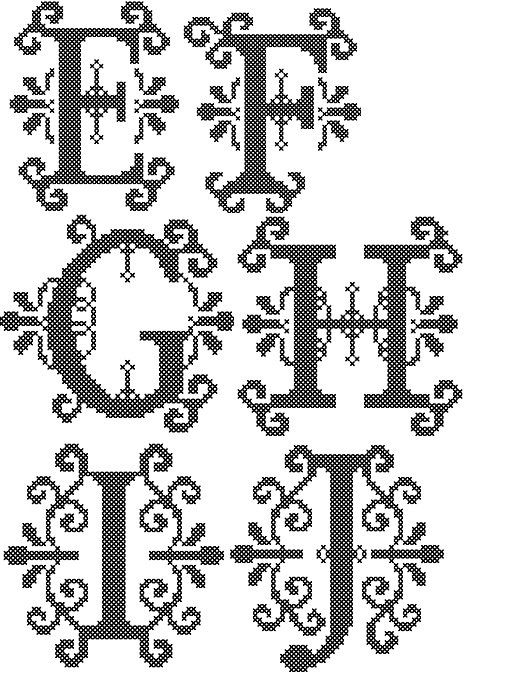 """Formal Cross Stitch Letters Alphabet Patterns - for 4"""" square frame size or 4"""" round hoop"""