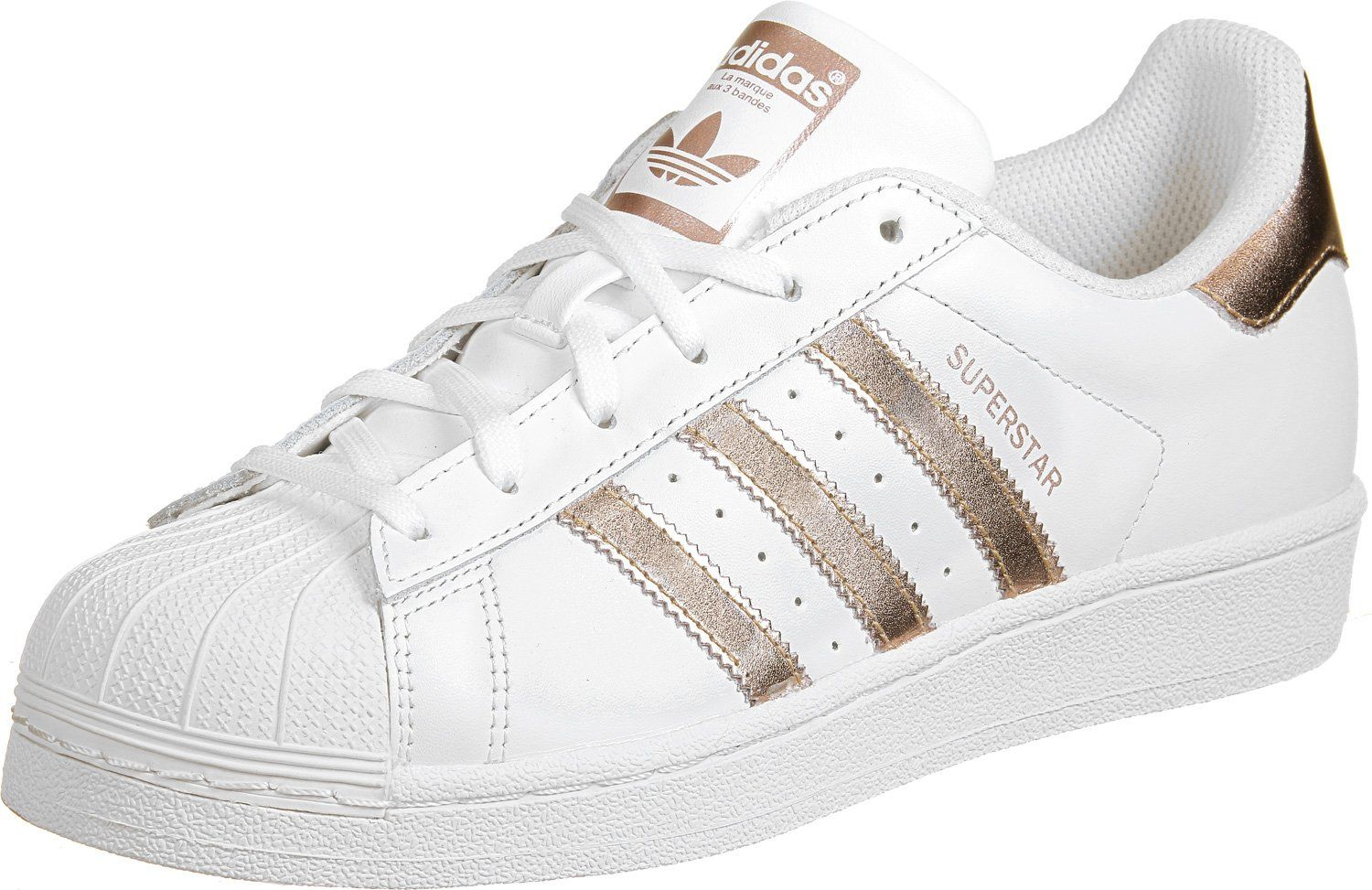 adidas Women's Superstar W, FOOTWEAR WHITE/GOLD, 7 US. Model Number: