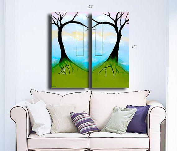 Original painting fantasy landscape canvas acrylic home decor wall ...